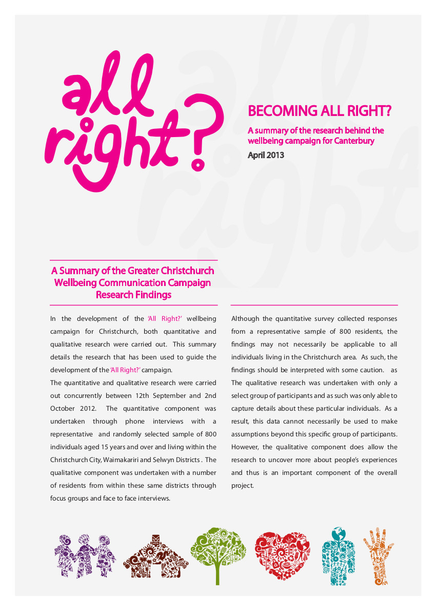 All Right? Research and Evaluation: Annual Research - Taking the Pulse