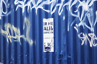 A photograph of tags on a shipping container in Wa...