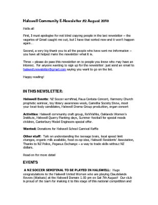 The Halswell Community E-Newsletter, August 2010