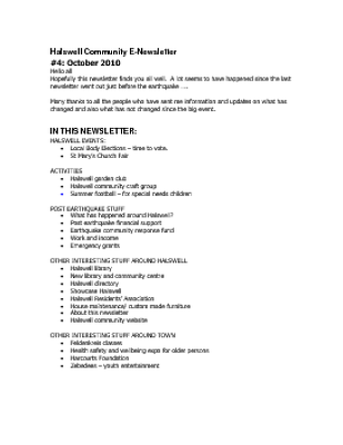 The Halswell Community E-Newsletter, October 2010