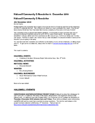 The Halswell Community E-Newsletter, December 2010