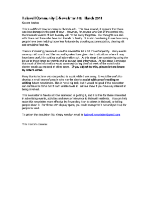 The Halswell Community E-Newsletter, March 2011