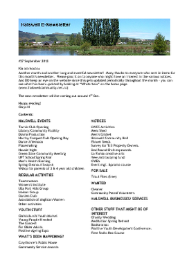 The Halswell Community E-Newsletter, September 2012