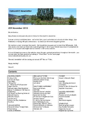 The Halswell Community E-Newsletter, November 2012