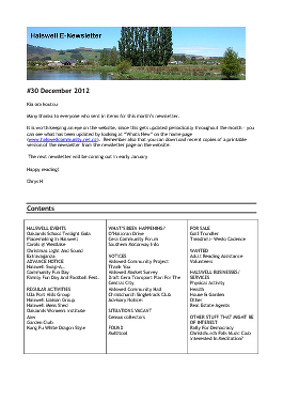 The Halswell Community E-Newsletter, December 2012
