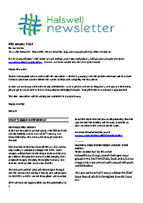 The Halswell Community E-Newsletter, January 2014