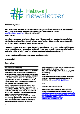The Halswell Community E-Newsletter, February 2014
