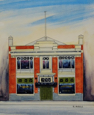 Raymond Morris's painting, '178 Manchester Street, Hillary and Marshall Building'