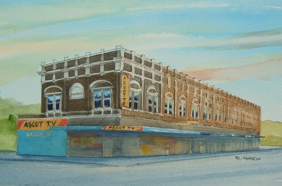 Raymond Morris's painting, 'Ascot TV Building, Colombo and Wordsworth Streets'