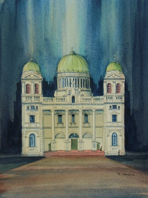 Raymond Morris's painting, 'Cathedral of the Blessed Sacrament Portrait'