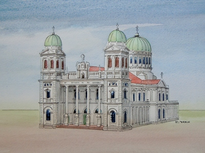 Raymond Morris's painting, 'Cathedral of the Blessed Sacrament'