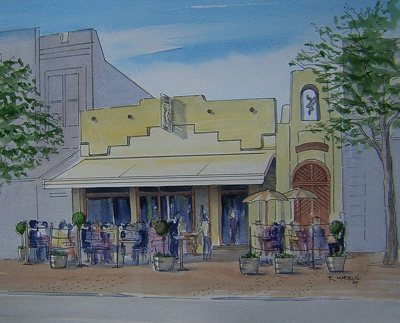 Raymond Morris's painting, 'Coyote Bar and Restaurant, 126 Oxford Terrace'
