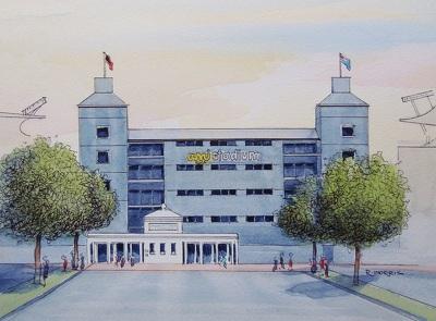 Raymond Morris's painting, 'Hadlee Stand, AMI Stadium (Lancaster Park)'