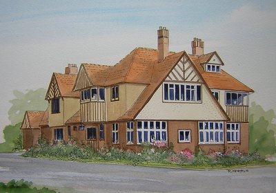 Raymond Morris's painting, 'Highway Lodge, Papanui Road, Merivale'