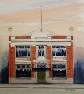 Raymond Morris's painting, 'Hillary and Baxter Building, 178 Manchester Street'