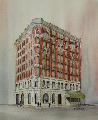 Raymond Morris's painting, 'NZ Express Co. building'
