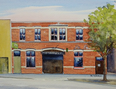 Raymond Morris's painting, 'Sammys Jazz Review Bar, 14 Bedford Row'
