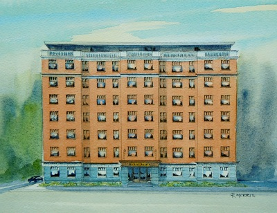 Raymond Morris's painting, 'St Elmo Courts building, Hereford Street'