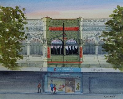 Raymond Morris's painting, 'Sucklings Shoe Store, 627 Colombo Street'