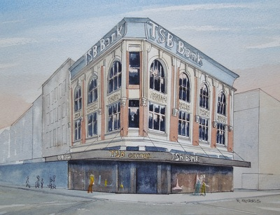 Raymond Morris's painting, 'TSB Building, corner Colombo and Hereford Streets'