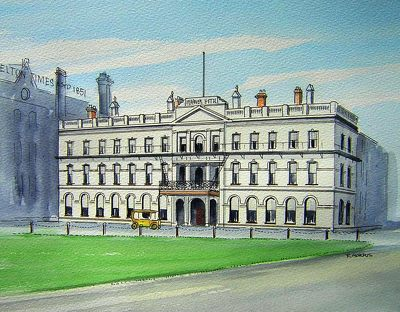 Raymond Morris's painting, 'Warners Hotel, Cathedral Square (1920)'