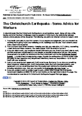 The Christchurch Earthquake - Some Advice for Workers