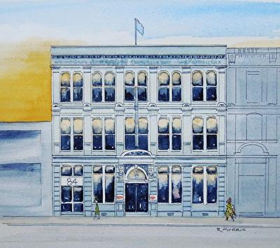Raymond Morris's painting, 'Bains Warehouse, 84 Lichfield Street'.