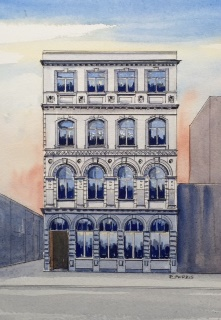 Raymond Morris's painting, 'Sevicke Jones Building, 53 Cathedral Square, 1913-2011'