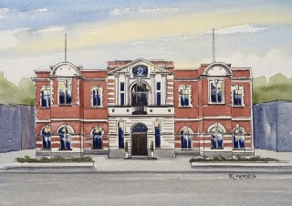 Raymond Morris's painting, 'Former Civic Offices, 194/198 Manchester Street, 1900-2011'