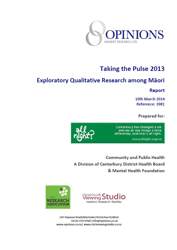 Taking the Pulse 2013: Exploratory Qualitative Research among Māori Report