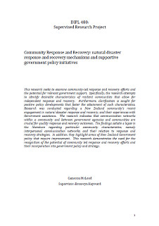Community Response and Recovery: natural disaster response and recovery mechanisms and supportive government policy initiatives