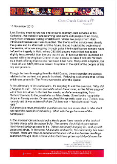Letter from Dean of the Christchurch Cathedral Peter Beck