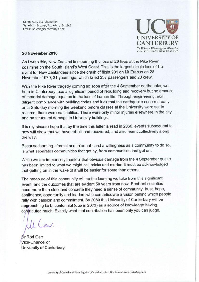 Letter from Vice Chancellor of the University of Canterbury Dr Rod Carr