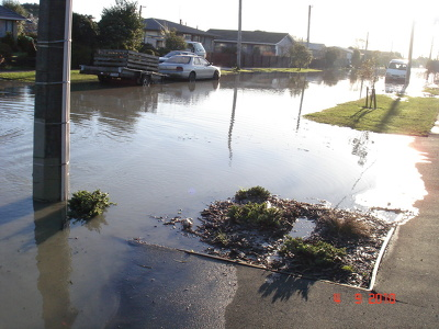 Flooding in a residential area