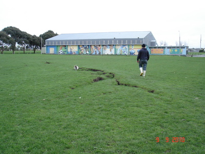 Cracks on the grounds of Bexley Park