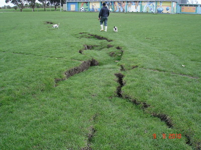 Cracks on the grounds of Bexley Park (2)